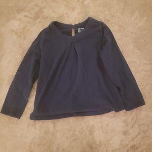 Girls Navy Blue Long Sleeve Button Closure Top